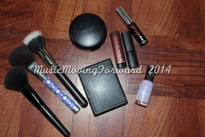 Brushes - E.L.F., Sonia Kashuk, MAC Mac Studio Fix NW45 E.L.F. Translucent Matifying Powder Revlon Lip Butter 'Fig Jam' Revlon Colorburst 'Peach' Benefit Bad Gal Lash Sally Hansen Xtreme Wear 'Lacey Lilac'