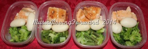Salmon - approx 5oz/serving (1 fillet) Birds Eye Steamfresh, Green Beans & Broccoli - approx 1/5 cups Canned Potatoes - _