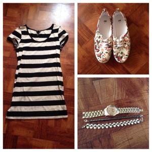 Jersey Dress, Striped - $12.95 Sneakers, Floral - $12.95 Watch - NY&CO Bracelets -