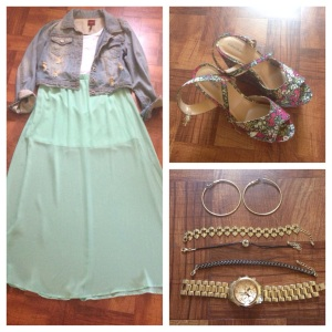 Jacket - Mandie's  Crop Top - Wet Seal Maxi Skirt - Forever 21 Shoes - Thrift Store (Target) Watch - NY&CO Bracelets - H&M Earrings - Wet Seal