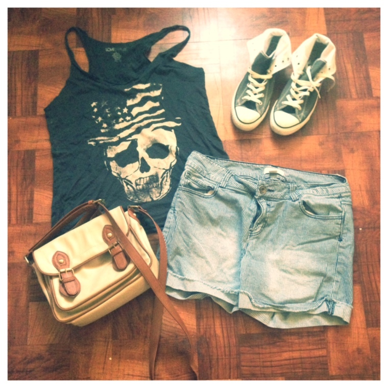Shirt: Love Culture Shorts: Forever 21 Sneakers: Converse (JCPenny) Purse: Xcessory