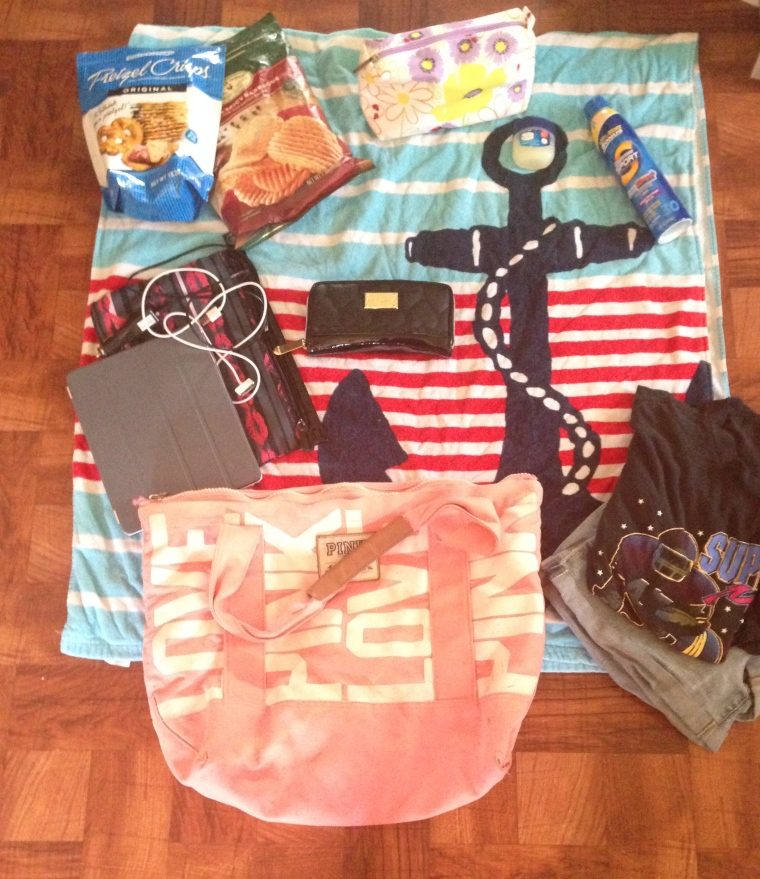 Bag - Victoria Secret's Towel - Target iPad 3; Chargers; Bag - Target Change of Clothes Snacks - Pretzel Chips;  Wallet - Betsey Johnson