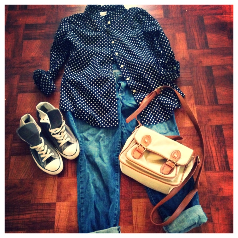 Shirt - J. Crew Jeans - Kohls, Lauren Conrad Shoes - Converse Purse - Unknown