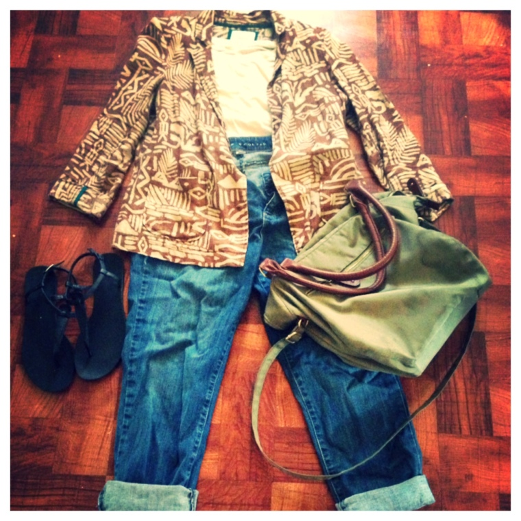 Blazer - Forever 21 T-Shirt - Forever 21 Jeans - Kohls, Lauren Conrad Shoes - Forever 21 Purse - Old Navy