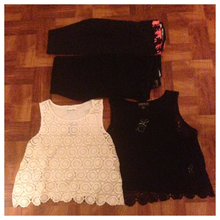 Cropped Leggings - Victoria's Secret High-Waisted Jeans - Forever 21+ Crochet Tops (Black & White) - Forever 21+