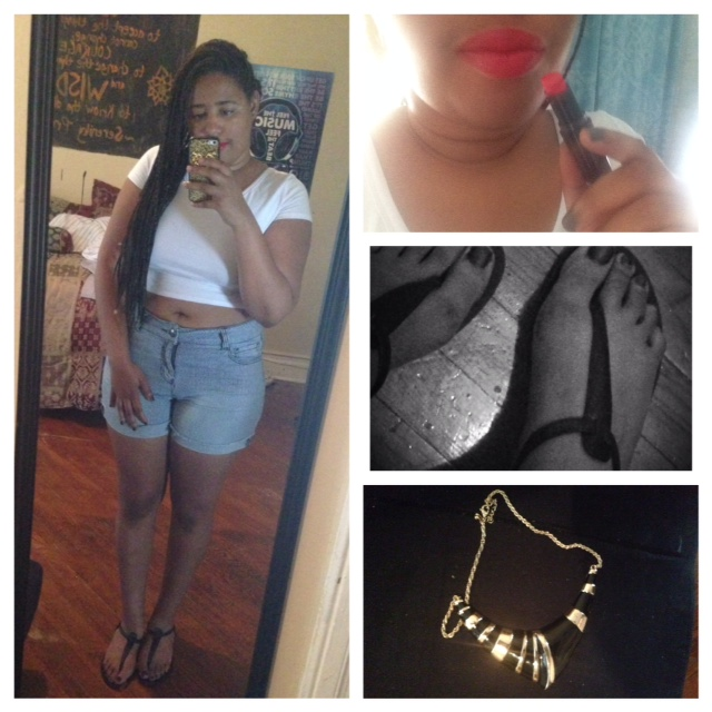 Crop Top - Wet Seal Shorts - Forever 21 Shows - Forever 21 Necklace - Forever 21 Lipstick - Wet n Wild