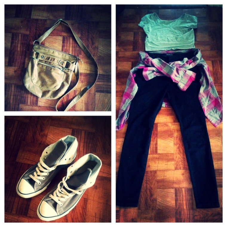 Crop Top - Wet Seal High-Waisted Jeans - Forever 21 Plaid Shirt - Gap Purse - Joyce Leslie Shoes - Converse