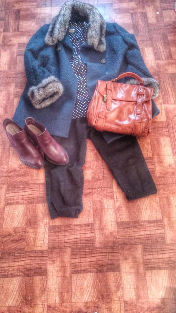 Coat - Kohls Shirt - J Crew (thrifted) Jeans - Forever 21 Shoes - Shoe Dazzle Purse - Sammy Dress