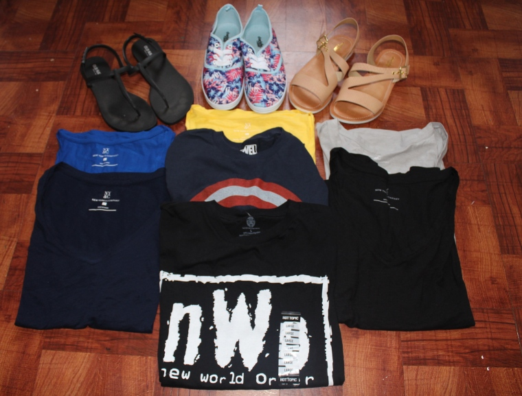 Black Sandals - Old Navy  Nude Sandals Charlotte Russe Sneakers - Charlotte Russe Basic Tanks - NY & CO Captain America T-Shirt - Hot Topic NWO T-Shirt - Hot Topic