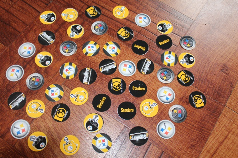 -Pooh79- 50 Precut 1' Pittsburgh Steelers Circle Images - $4-