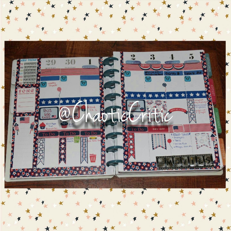 "+Planner Used: Mambi ""The Happy Planner"" +GlamPlanning 4th of July Weekly Kit +TheSassyPlanner Trash Cans +Dollar Tree Paper Tape +Hobby Lobby Movie Sticker  +ThePaperlyBowtique  +Wendaful Water Tracker Printable +MAMBI ""Song on Loop This Week"" Printable"