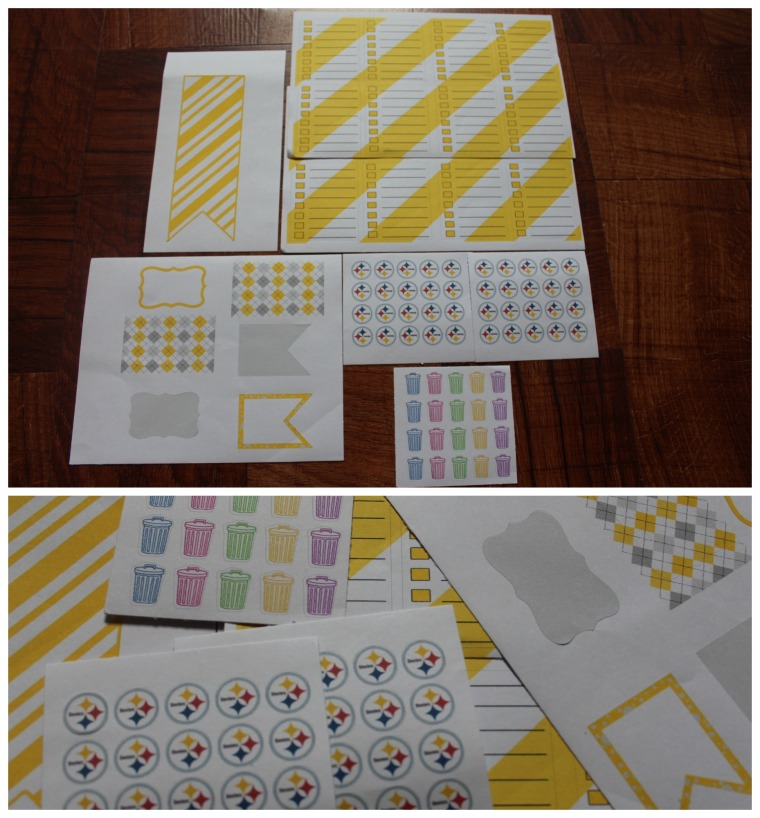 -KadyPlansIt- Set of 16 Yellow Striped To Do Lists  Set of 20 Trash Cans Set of 20 sports team stickers (requested Steelers) - extra sent as freebie Yellow Sticker Set - sent as freebie