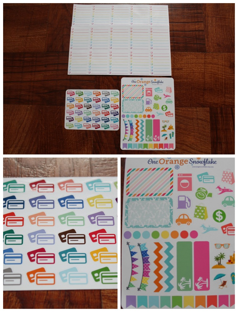 -OneOrangeSnowflake- Credit Card Stickers, Set of 36 -$3.25- To-Do Lists, Set of 25 -$5- Summer Sampler Stickers, Set of 43 -$4.50-