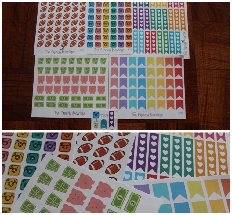 -ThePaperlyBowtique-  Football / Game Reminder Camera / Social Media Money Stickers Heart Checklist Pageflags Regular / Pastel Pageflags These items were randomly sent in a  mystery set purchase.